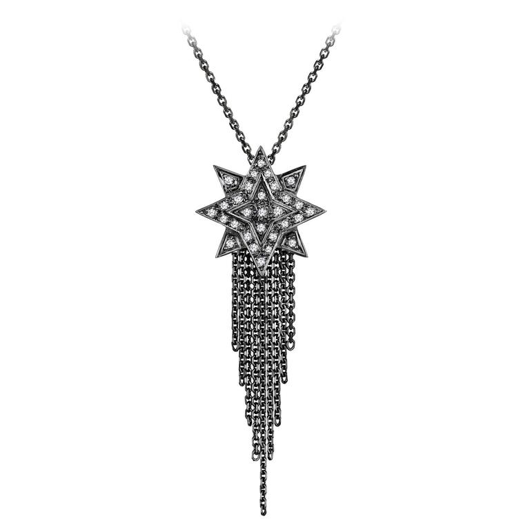 Ana De Costa White Round Diamond Blackened White Gold Star Chain Drop Pendant
