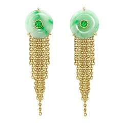 Ana De Costa Yellow Gold Round Green Diamond Green Jade Circular Disc Earrings