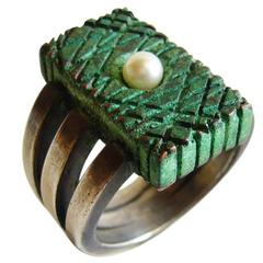 James Parker Pearl Sterling Silver Patinated Copper Ring