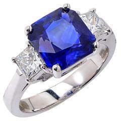 3.22 Carat Sapphire Diamond Gold Ring