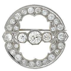 Art Deco 5.35 Carat Diamond Platinum Brooch