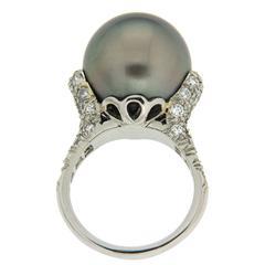 Tahitian Pearl Diamond Platinum Ring