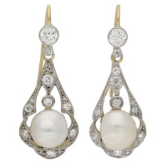 Antique natural pearl diamond Gold Platinum chandelier earrings
