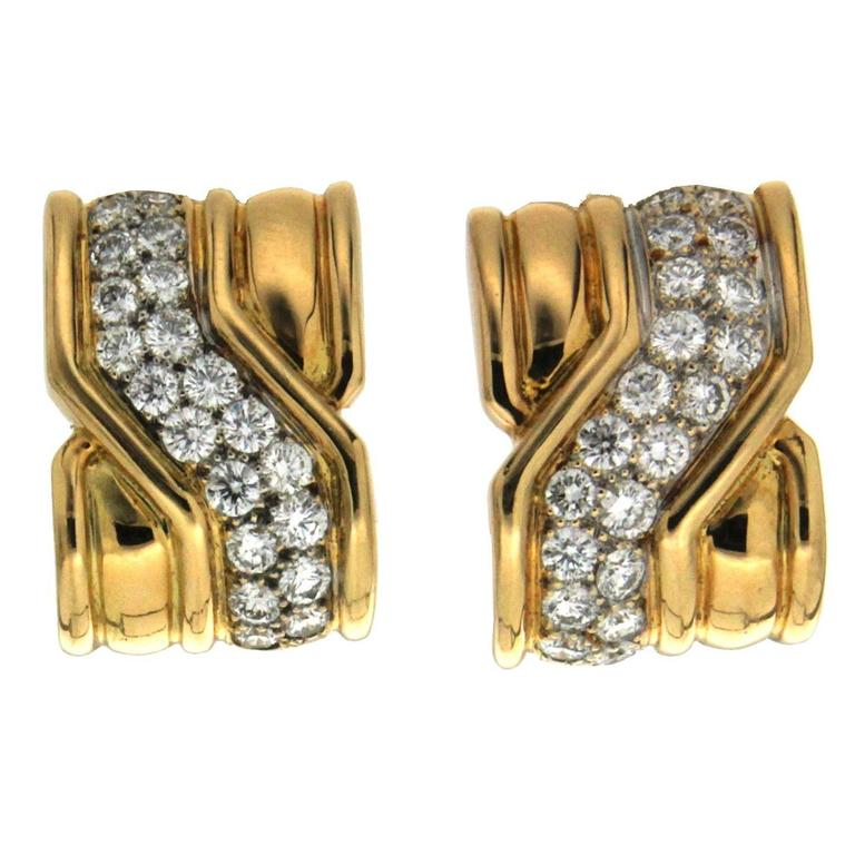 On The Town Diamond Gold Earrings 1