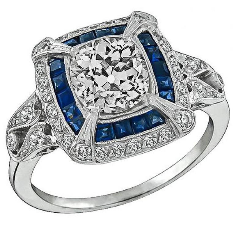Art Deco 1.27ct. Cushion Cut Diamond Sapphire Ring 1