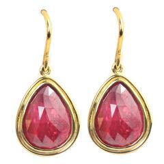 Julius Cohen Rose Cut Ruby Gold Drop Earrings