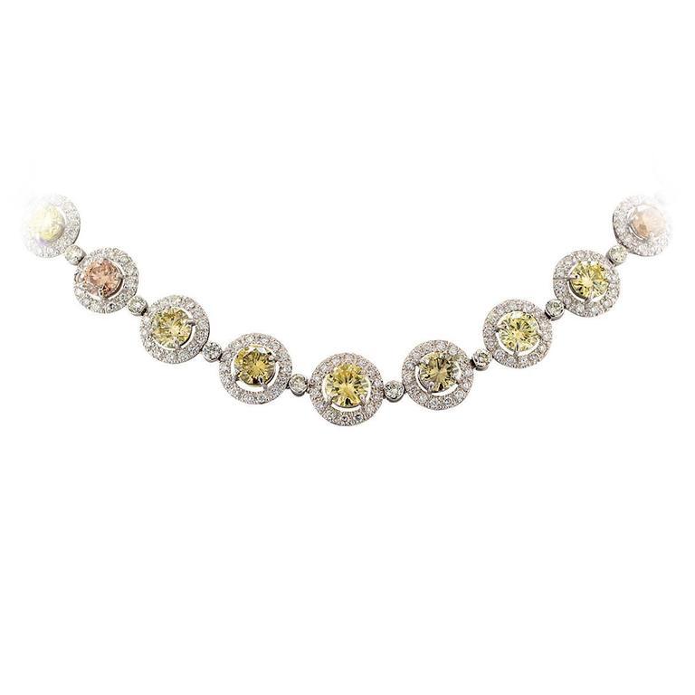 Beautiful 26.03 Carat GIA Graded Fancy Color Diamond Platinum Necklace