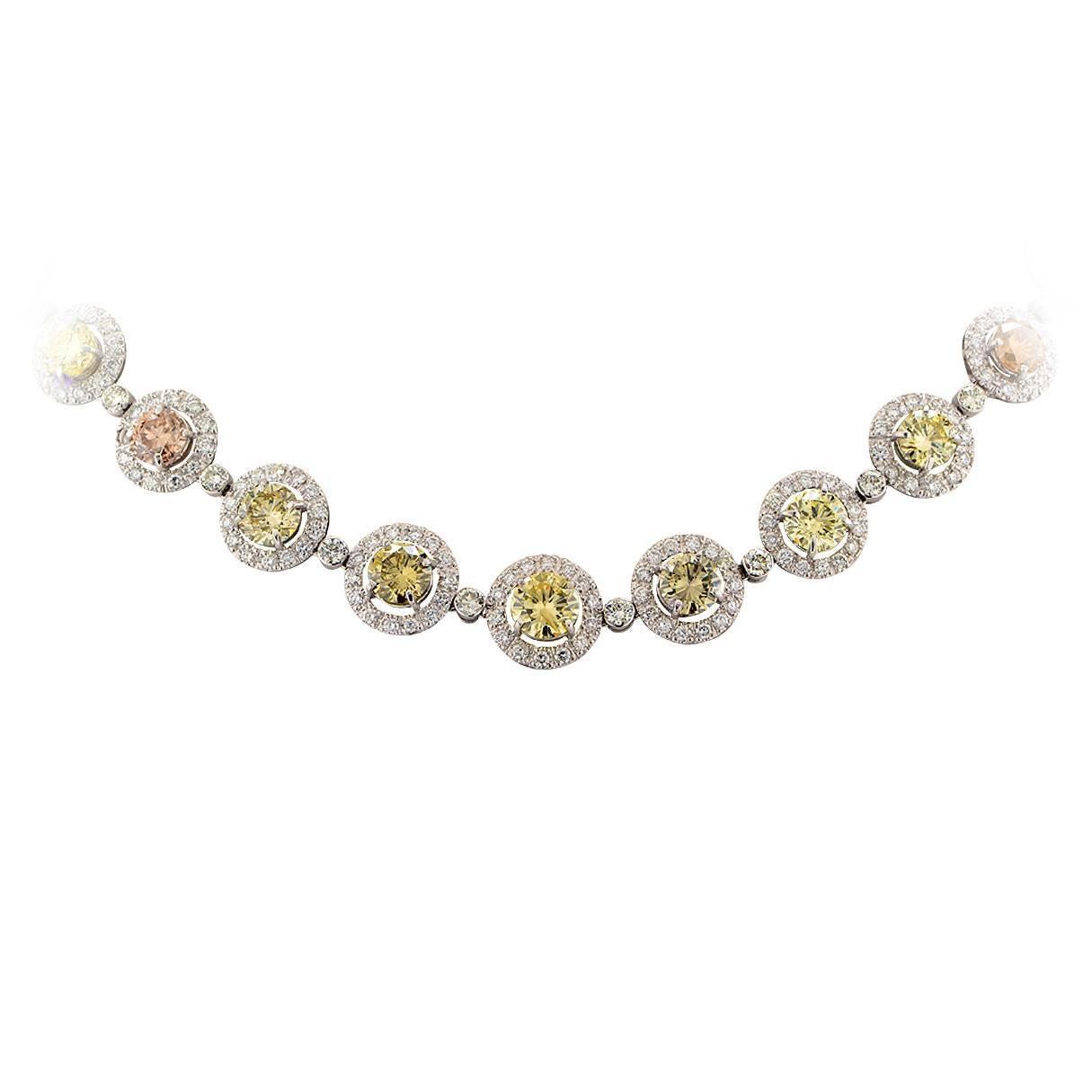 Vivid Diamonds 26.03 Carat GIA Graded Fancy Color Diamond Platinum Necklace