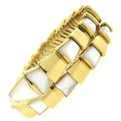 Bulgari Serpenti Mother of Pearl Gold Wrap Snake Bracelet