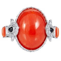 Art Deco Inspired 8.20 Carat Red Coral with Onyx Diamonds Set in a Platinum Ring