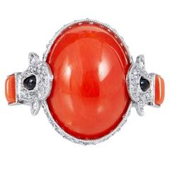 8.20 Carat Red Coral Onyx Diamond Ring