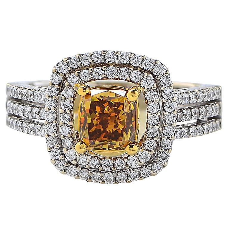 1.23 Carat GIA Cert Fancy Color Diamond Two Color Gold Engagement Ring