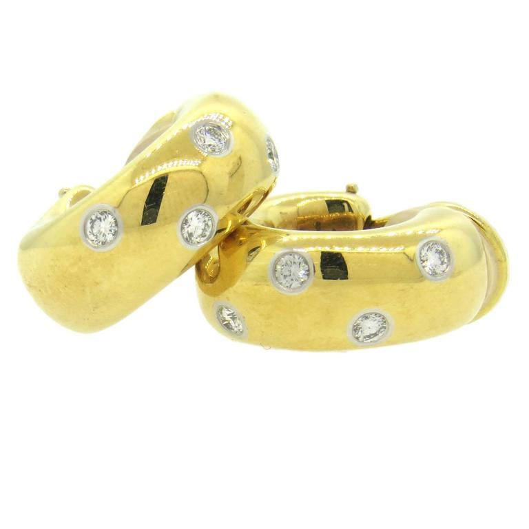 Tiffany & Co. Etoile Diamond Gold Platinum Hoop Earrings