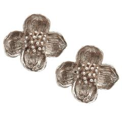 Tiffany Silver Dogwood Earrings