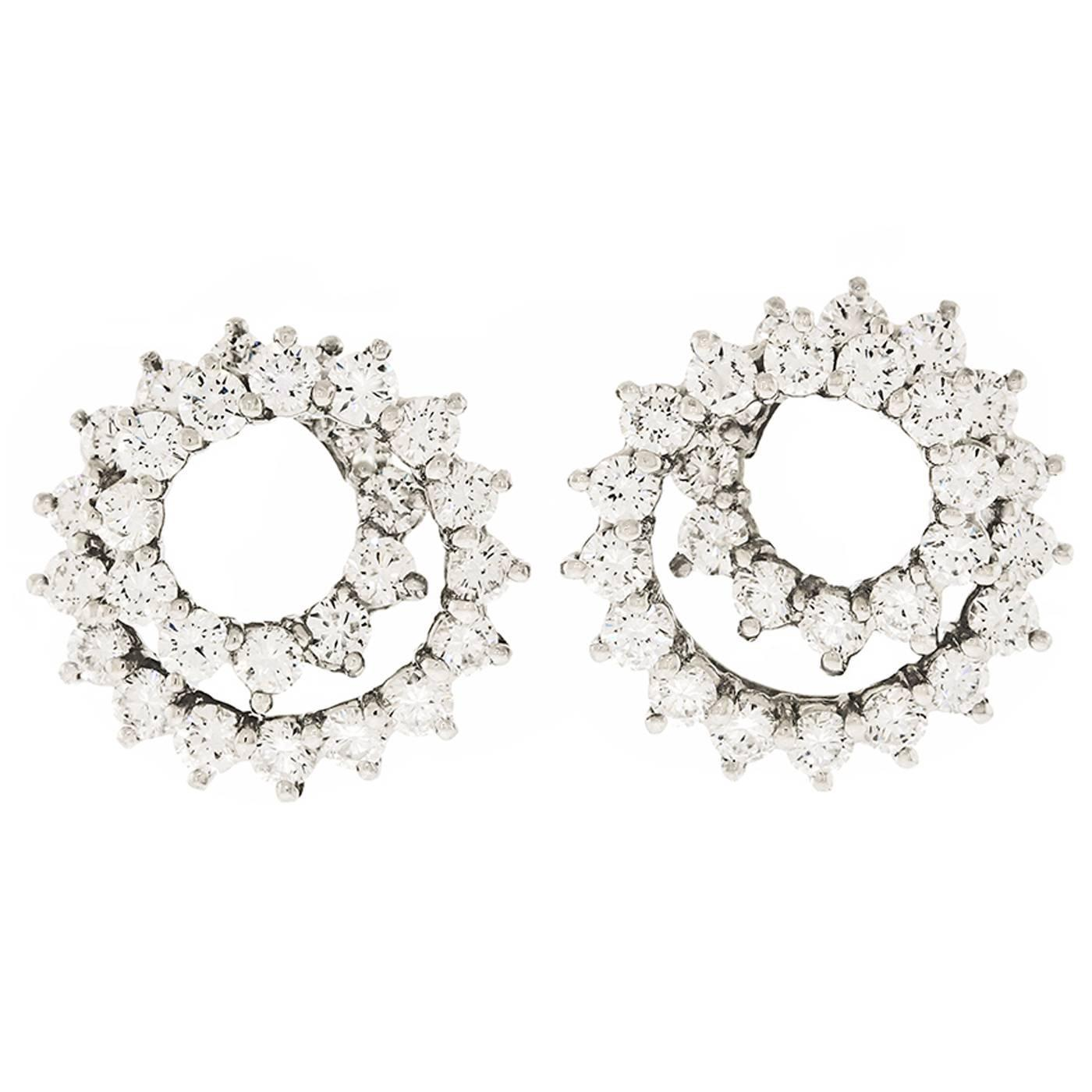 Tiffany and Co Diamond Set Swirl Earrings in Platinum at 1stdibs