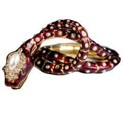 Antique Pearl Ruby Diamond Gold Snake Bracelet Necklace