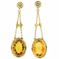 Antique Citrine and Pearl Dangle Earrings