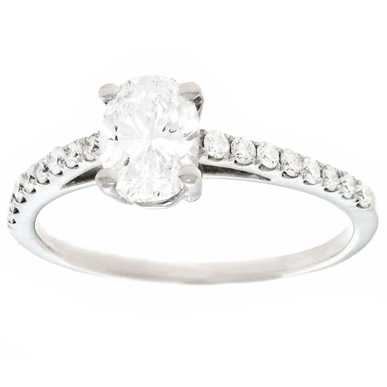 .84 Carat GIA Cert Oval Diamond Gold Engagement Ring For Sale