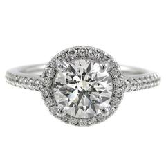 1.21 Carat Diamond Halo Platinum Engagement Ring