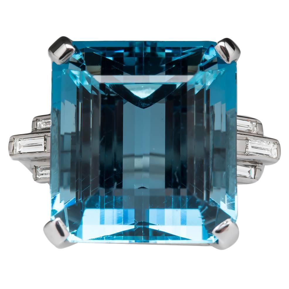 1950s 27 Carat Aquamarine Diamond Platinum Cocktail Ring ...