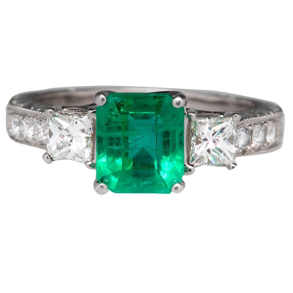 1 65 carat emerald gold engagement ring at 1stdibs