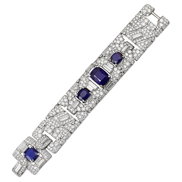 Cartier Magnificent Art Deco Sapphire Diamond Platinum Link Bracelet