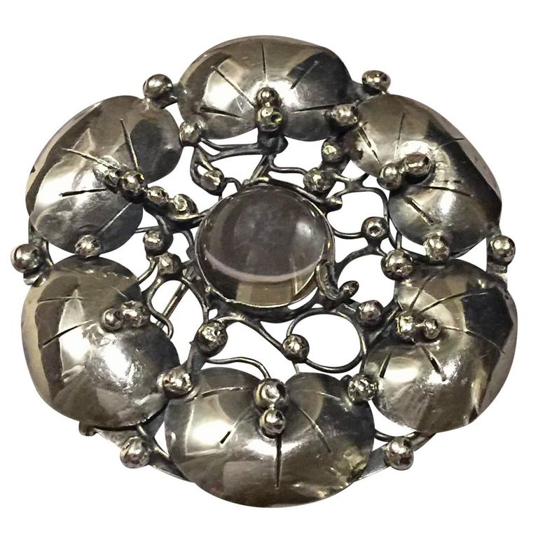 Mary Gage Large Sterling Silver Brooch with Rock Crystal Cabochon