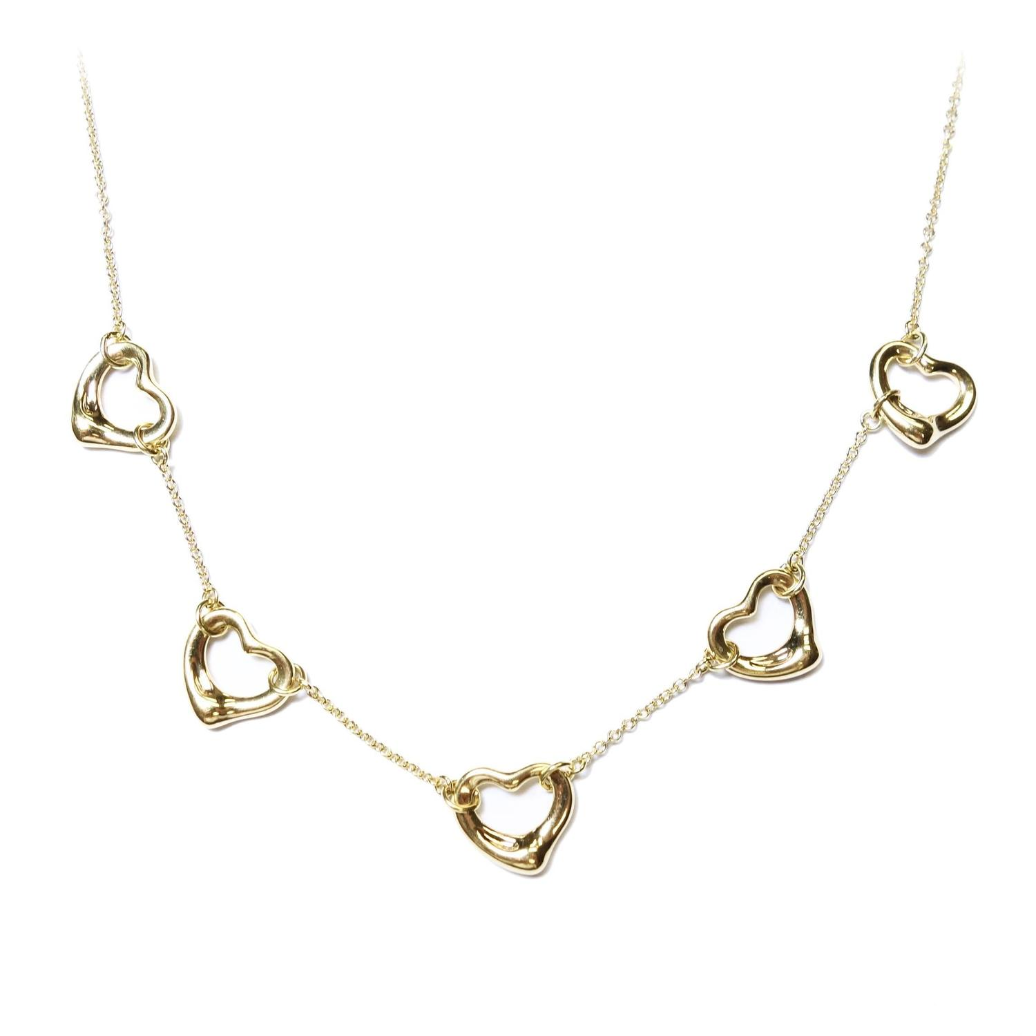 Tiffany and Co Elsa Peretti Five Hearts Gold Necklace at 1stdibs
