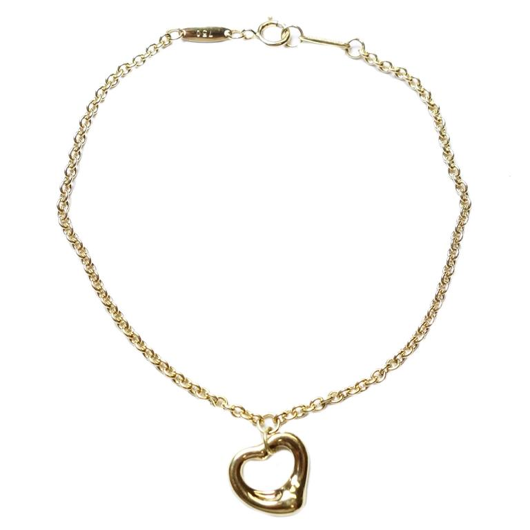 c68310133 Tiffany & Co Elsa Peretti Yellow Gold Open Heart Charm Bracelet For Sale