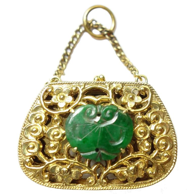 Jade Gold Purse Charm For Sale