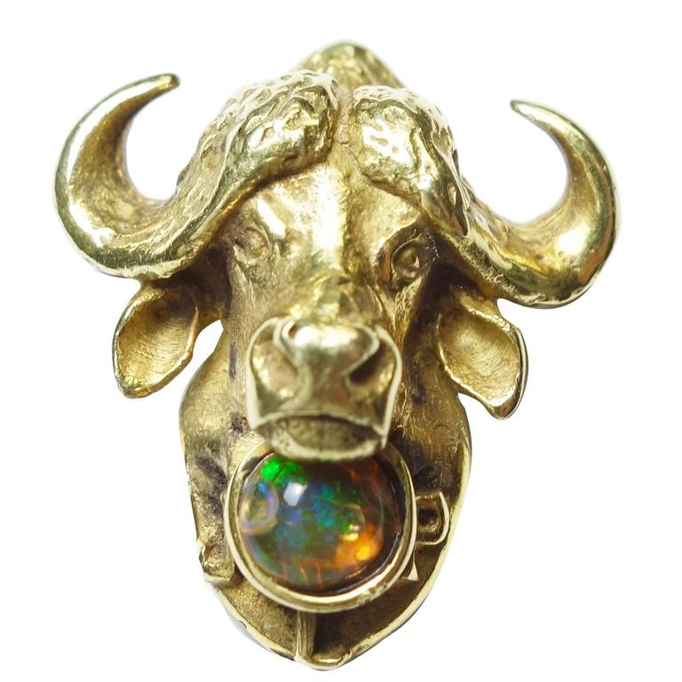 Art Nouveau Water Buffalo Opal Gold Brooch 1
