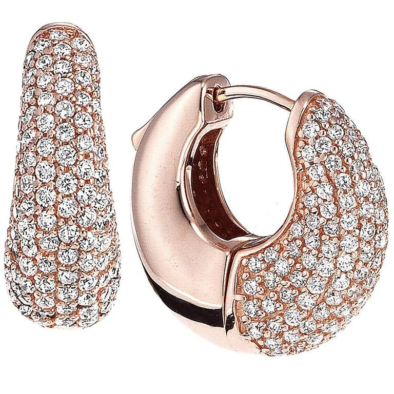 Micro pave diamond huggie earrings with push locking mechanism  1