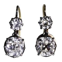 Antique Diamond Silver-Topped Gold Pendant Earrings