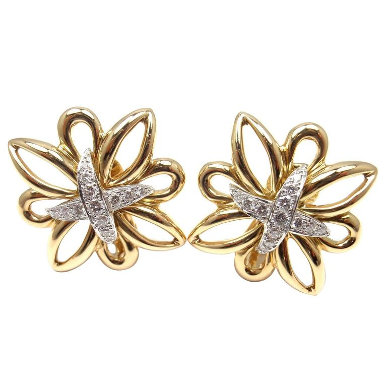 Tiffany & Co. Large Diamond Gold Earrings 1