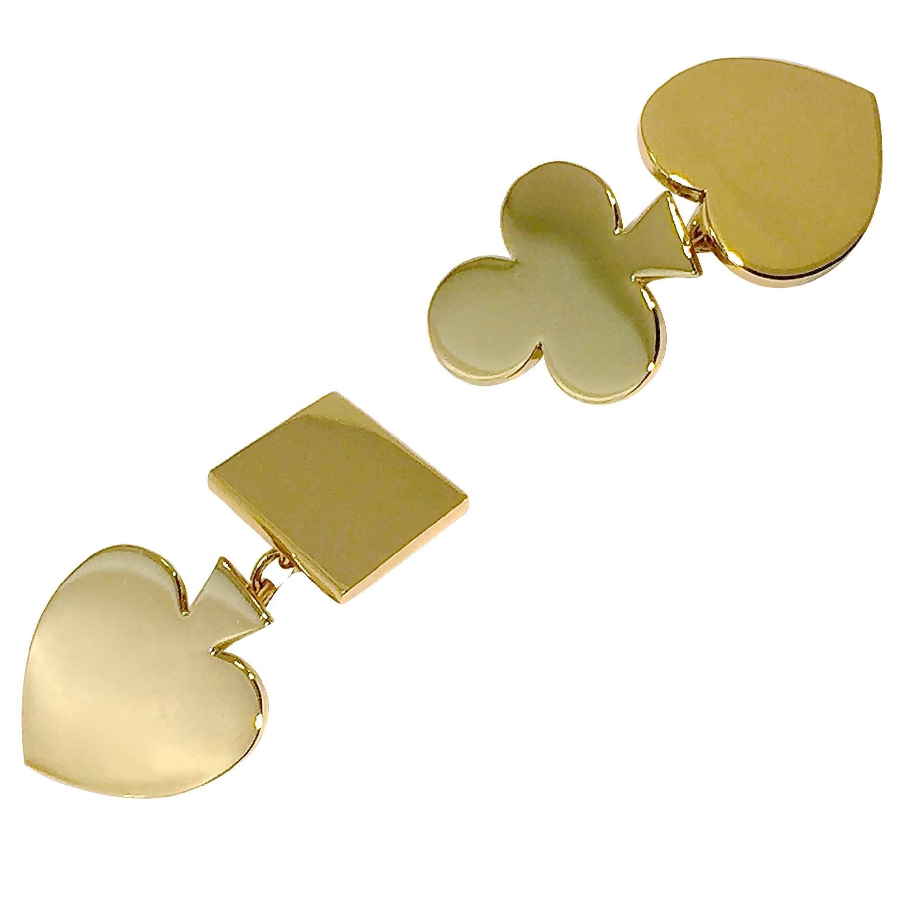 Jona 18 Karat Yellow Gold Card Suits Cufflinks