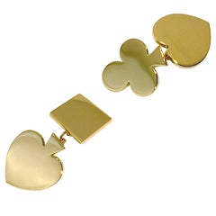 Jona 18 Karat Yellow Gold Card Suits Cufflinks
