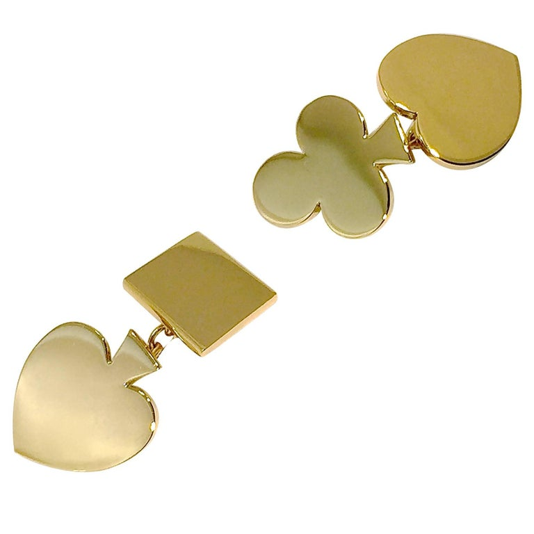 Jona 18 Karat Yellow Gold Card Suits Cufflinks For Sale