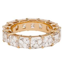 Square emerald-cut diamond gold eternity band