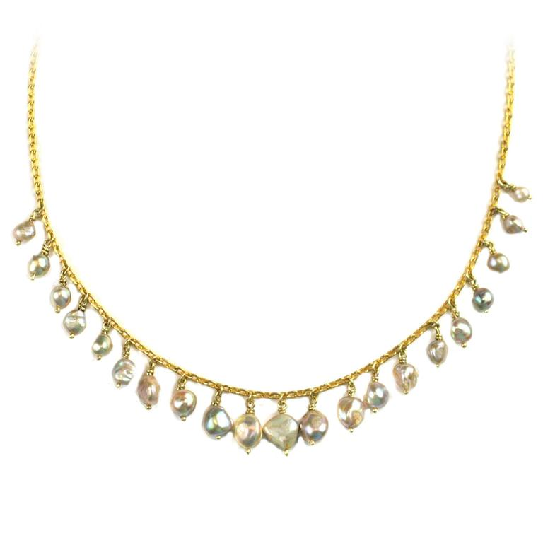 Julius Cohen Gold and Abalone Pearl Necklace