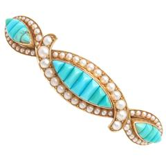 1900 Victorian Turquoise Pearl gold Hair Barrette
