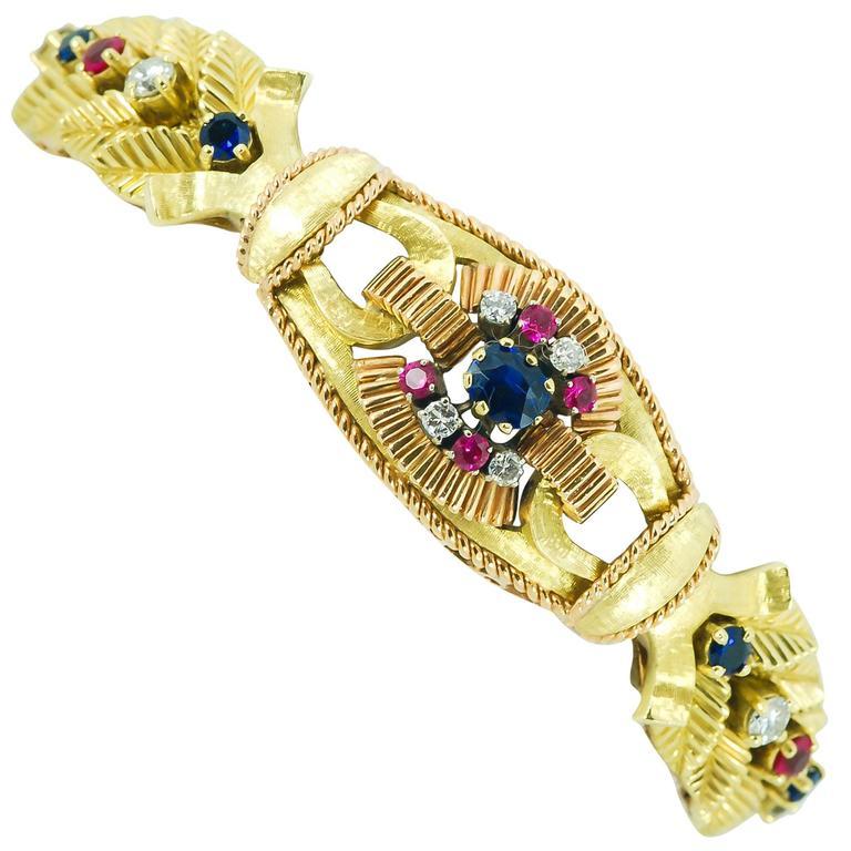 Retro Ruby Sapphire Diamond Two Color Gold Leaf Motif Link Bracelet