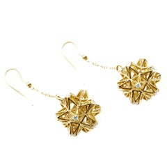 Frame Diamond Gold Dangle Earrings