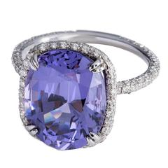 Rare oval violet spinel Diamond Platinum Cocktail ring
