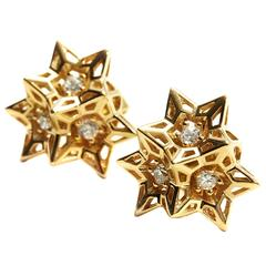 Tria Frame Diamond Gold Stud Earrings