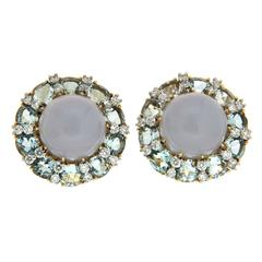Colori Chalcedony Oval Aquamarine Diamond Gold Platinum Round Earrings