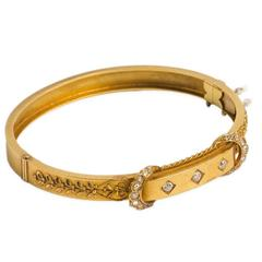 Victorian Diamond Gold Bangle Bracelet, circa Early 1900s