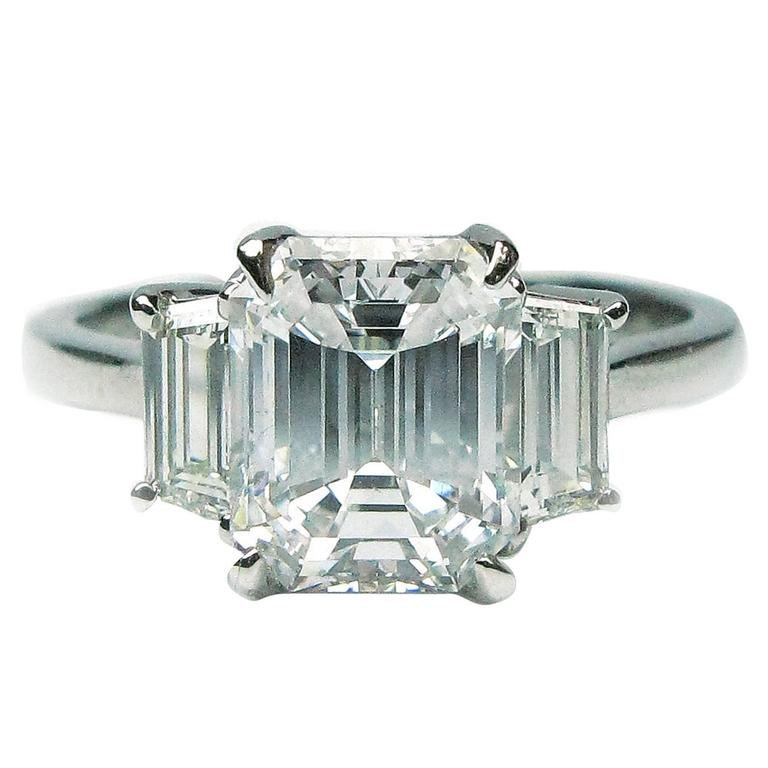 2.06 Carat Emerald Cut Diamond Platinum Engagement Ring