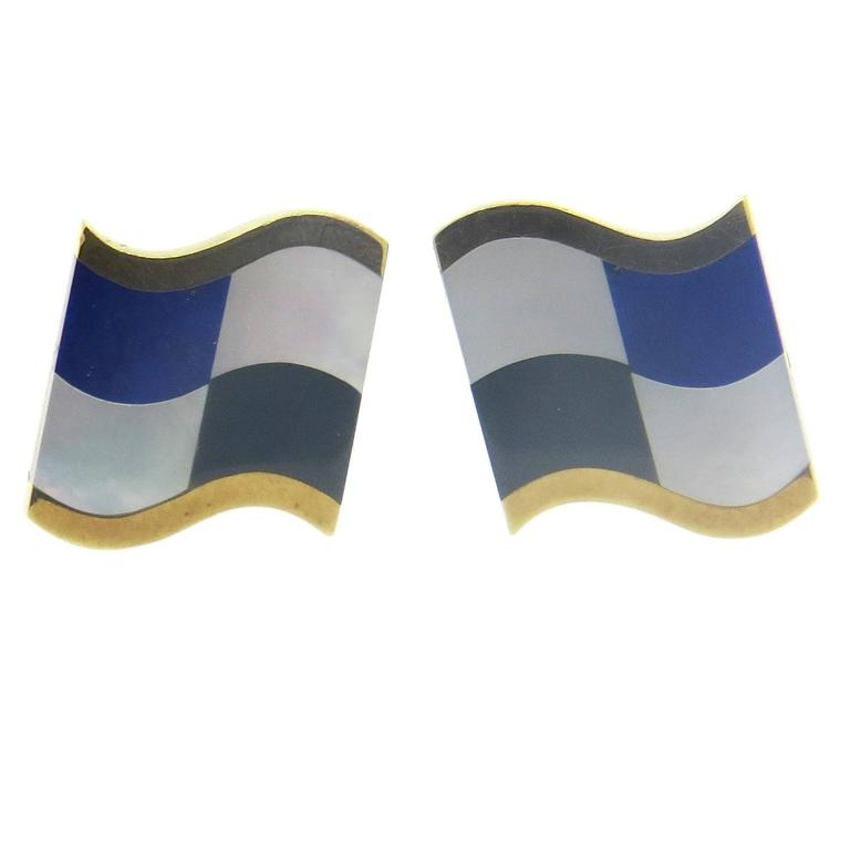 1980s Tiffany & Co. Inlay Onyx Lapis Mother of Pearl Gold Cufflinks