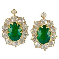 Natural Colombian Oval Emerald and Old European Cut Diamond Clip Earrings