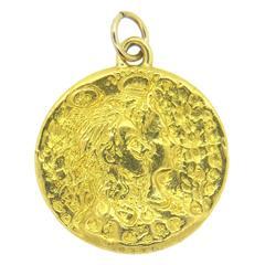 Salvador Dali Gold Circle Pendant